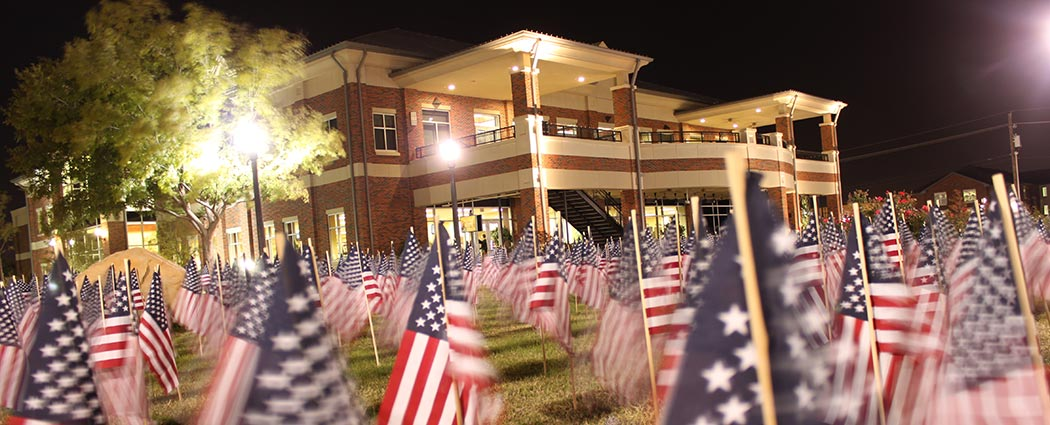 Veterans Day flags at night in Bentley Gardens