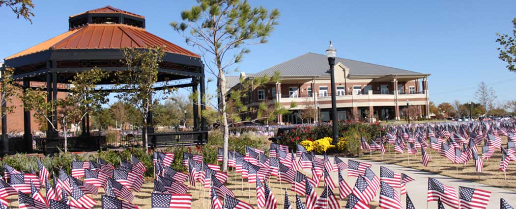 Picture of the 2011 Veteran's Day Celebration Flags on campus