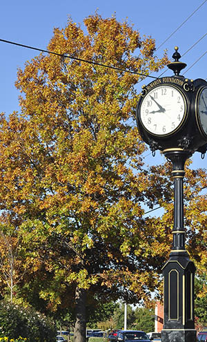 fall foliage with McMahon Foundation clock