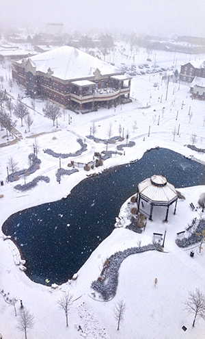 Arial shot of campus with snow.