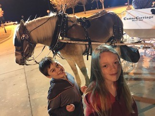Lily and Wyatt Morgan, grandchildren of Tammy Loyd, pose with the horse before enjoying their carriage ride.